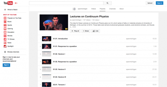 Screen capture of YouTube playlist for Lectures on Continuum Physics